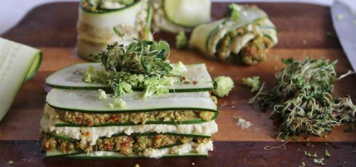 Raw Lasagna w/ Cashew Cheese & Broccoli Sun-Dried Tomato Pesto