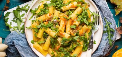 Smoky Butternut Squash Sauce with Pasta and Greens
