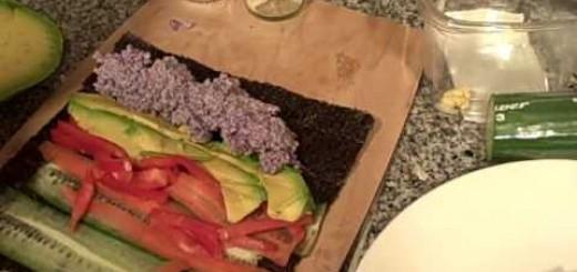 The best Raw Sushi Nori Wraps made with Purple Cauliflower Rice
