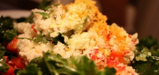 """Raw Mexican """"Rice"""" Pilaf with Spicy """"Cheese"""" Topping"""