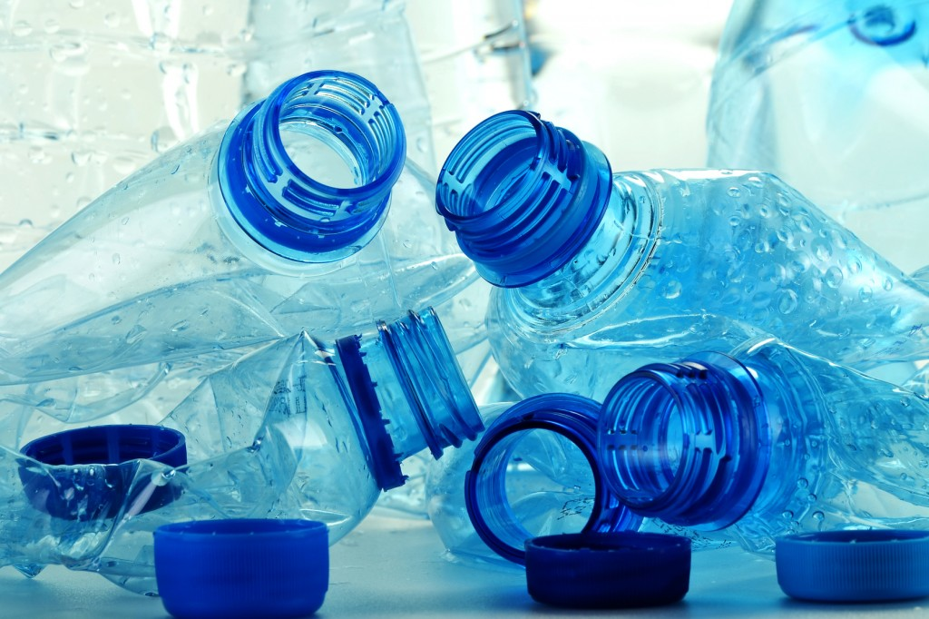 Composition with plastic bottles of mineral water. Plastic waste