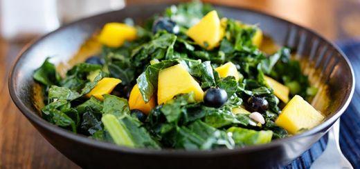 Massaged Kale, Blueberry, & Mango Salad