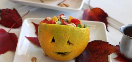 Jack-o-Lantern Salad With An Asian Dressing