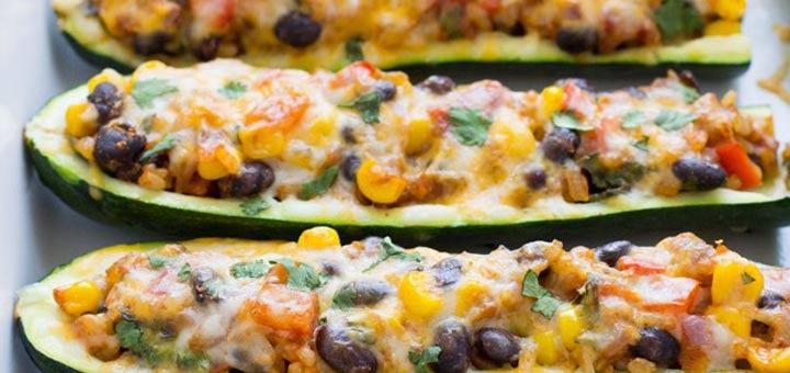 Zesty Mexican Zucchini Burrito Boats
