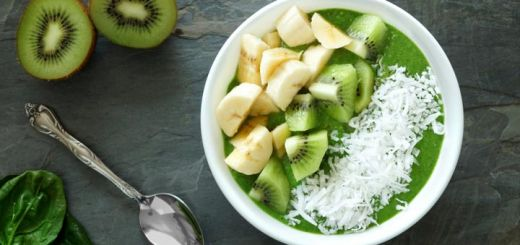 Green Smoothie Bowl With Fresh Kiwis & Bananas