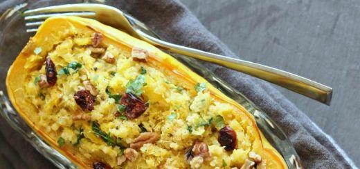 Quinoa And Spinach Spaghetti Squash Boats