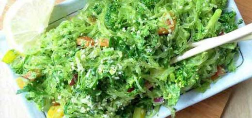 Raw Kelp Noodles In A Garlic Pesto Sauce