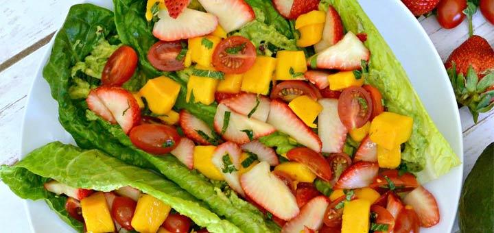 Raw Mango, Strawberry, & Avocado Tacos