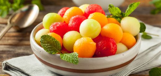 Melon Ball Salad With A Lemon Mint Dressing