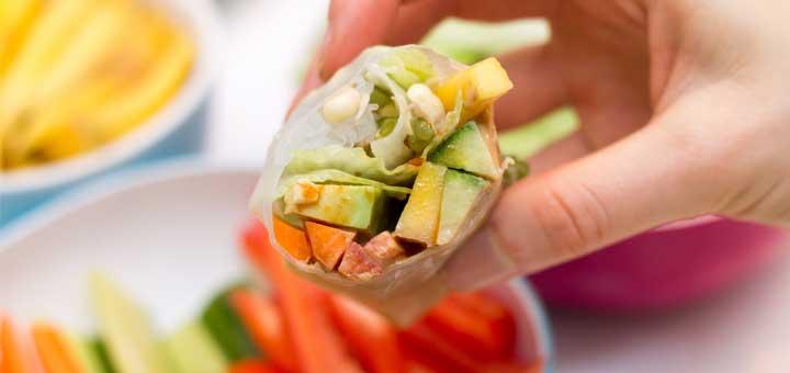 Rice Paper Spring Rolls With Mango & Avocado