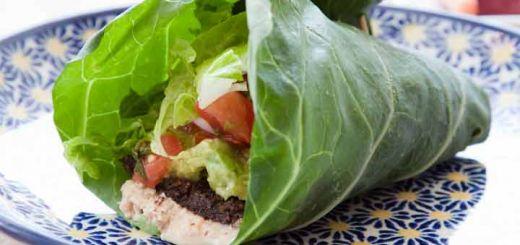 Collard Wraps With Avocado & Sunflower Seed Paste