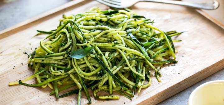 Zucchini Noodles Tossed In A Mint Pesto