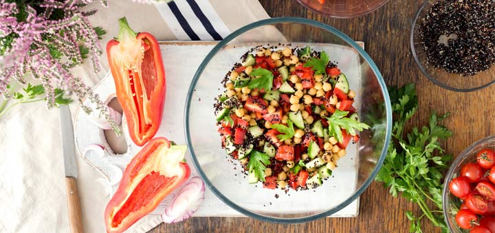 Mediterranean Chickpea Salad With A Citrus Herb Dressing