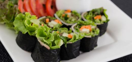 Raw Nori Wraps With A Spicy Tahini Dipping Sauce