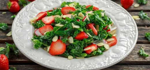 Strawberry Kale Salad With A Strawberry Vinaigrette