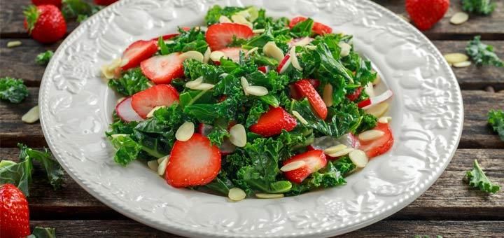 Strawberry Kale Salad With A Strawberry Vinaigrette