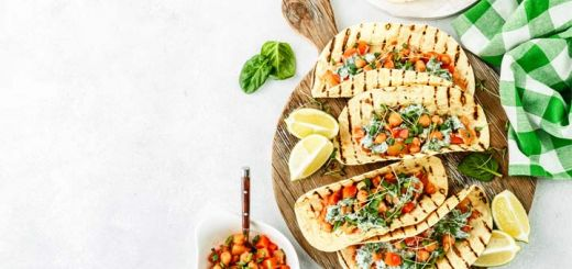 Crispy Chickpea Tacos With A Tahini Dressing