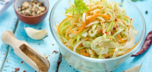 Carrot And Zucchini Noodle Salad With An Avocado Dressing