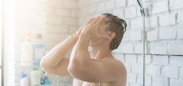 man-showering