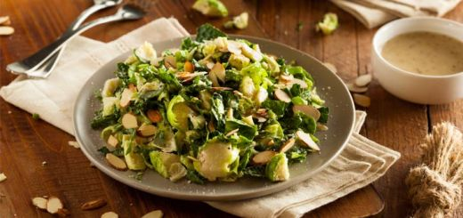 Raw Brussels Sprouts & Kale Caesar Salad
