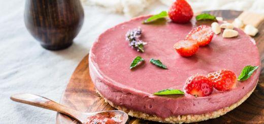 Raw Vegan Cheesecake With A Strawberry Basil Sauce