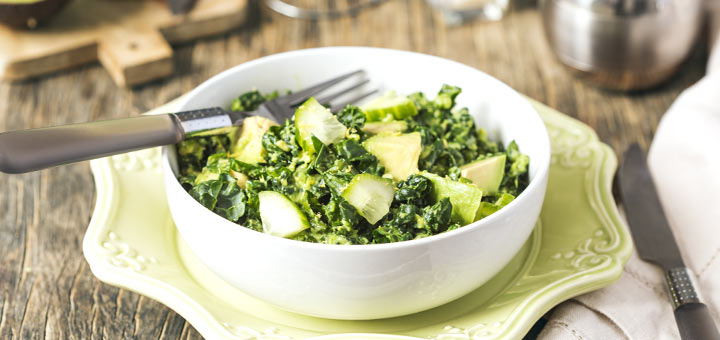 Raw Kale Salad With A Simple Tahini Dressing
