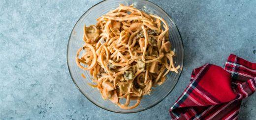 Raw Sweet Potato Noodles In A Tahini Sauce