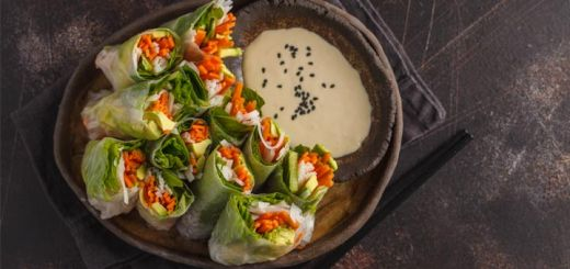 Loaded Vegetable Spring Rolls With A Cashew Dip