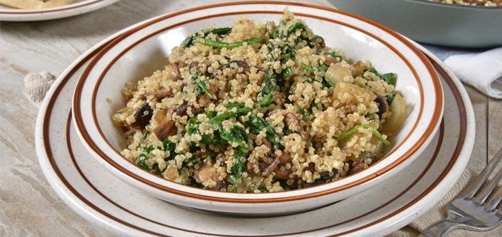 20-Minute Mushroom Spinach Quinoa