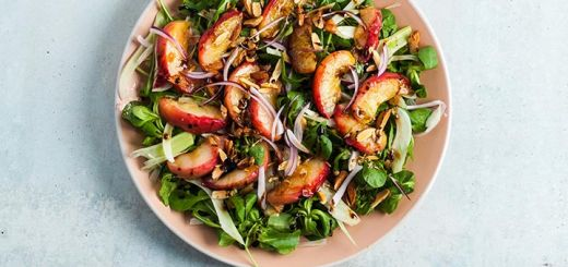 Grilled Peach Salad With A Honey Vinaigrette