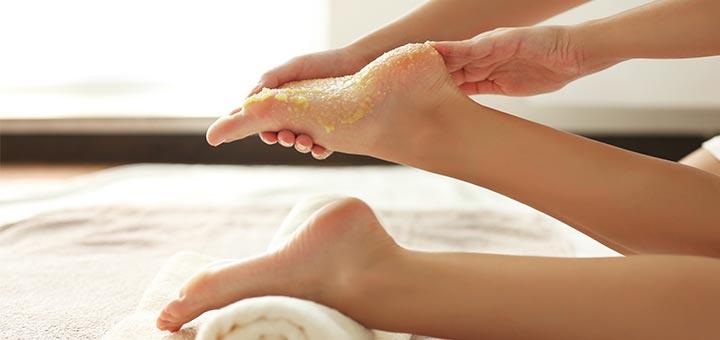 DIY Foot Scrub To Help Remedy Dry Or Cracked Heels