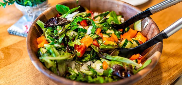 Mixed Green Salad With A Spicy Dressing