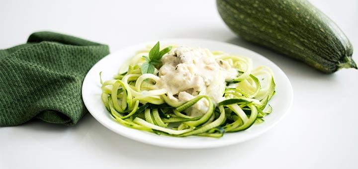 Raw Vegan Creamy Alfredo Sauce With Zucchini Noodles