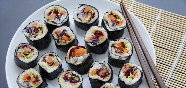 Raw Vegan Sushi With Marinated Mushrooms