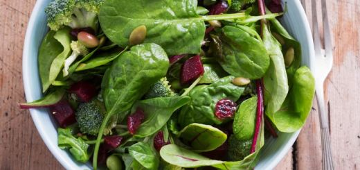 Spinach & Broccoli Salad With A Carrot Ginger Dressing