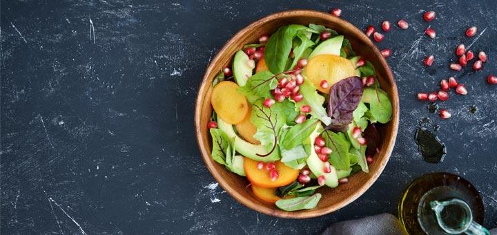 Persimmon Pomegranate Mixed Green Salad