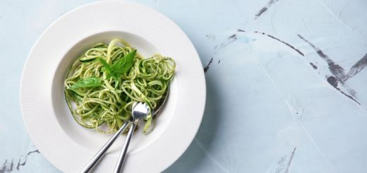 Zucchini Noodles With A Walnut Parsley Pesto