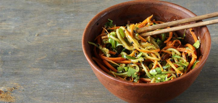 Cucumber Noodle Salad With Thai Basil Dressing