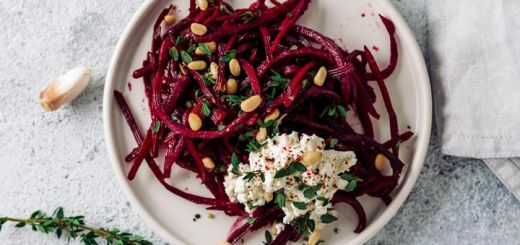 Beet Noodles With Cashew Cheese Cream Sauce