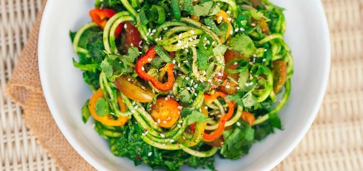 Zucchini Noodles With Cilantro Pesto And Veggies