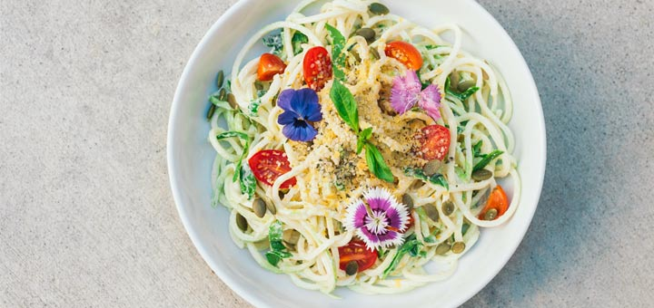 Zoodles Tossed In A Basil Hemp Seed Sauce