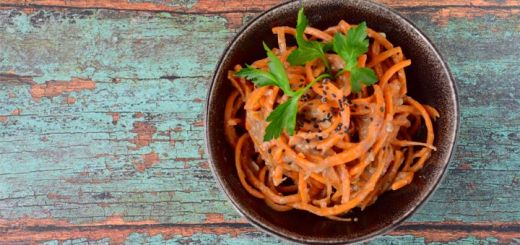 Carrot Noodles Tossed In A Tahini Dill Sauce
