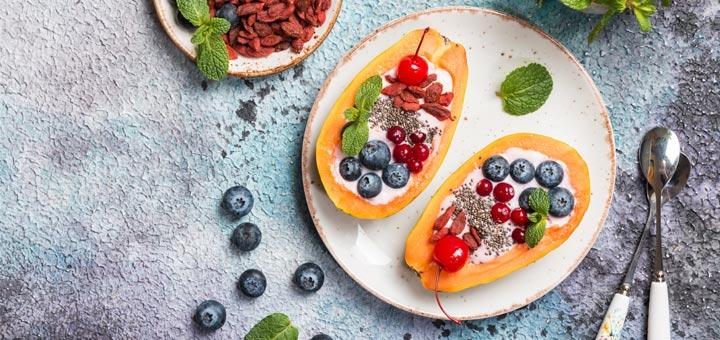 Papaya Breakfast Boats With Homemade Coconut Yogurt