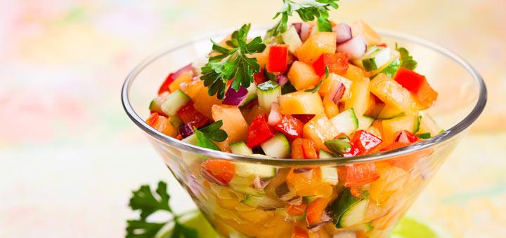 Raw Vegan Cucumber Melon Salsa