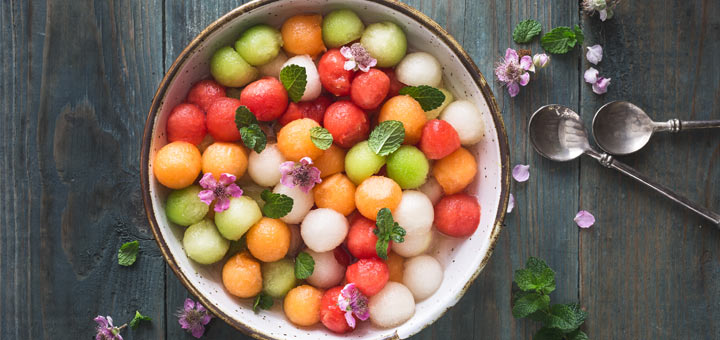 Melon Ball Salad With Minty Lime Dressing