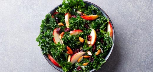 Kale Salad With Almonds, Cranberries And Apples