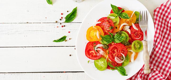 Multi-Colored Sliced Tomato Salad