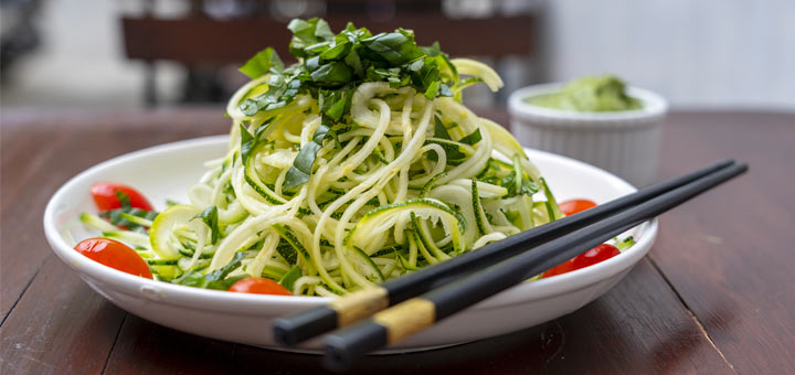 Zucchini Noodles With A Spinach Mint Pesto