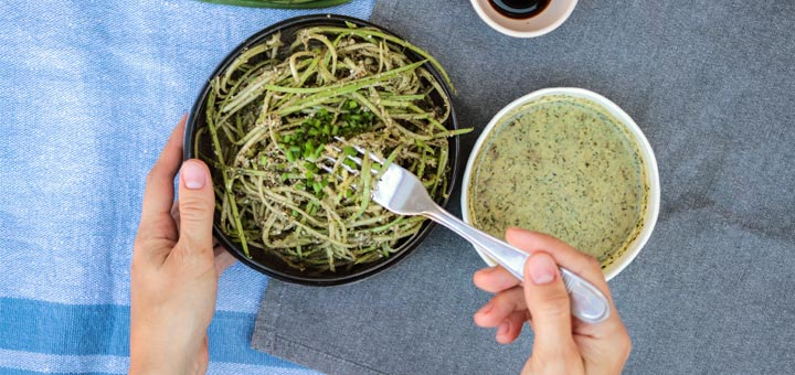 Zoodles In A Raw Pumpkin Seed Pesto