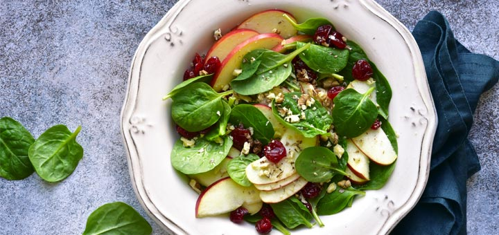 Easy Apple, Spinach, & Cranberry Salad